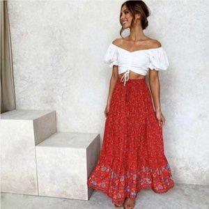 Dresses & Skirts - red boho gypsy floral print ruffle maxi skirt